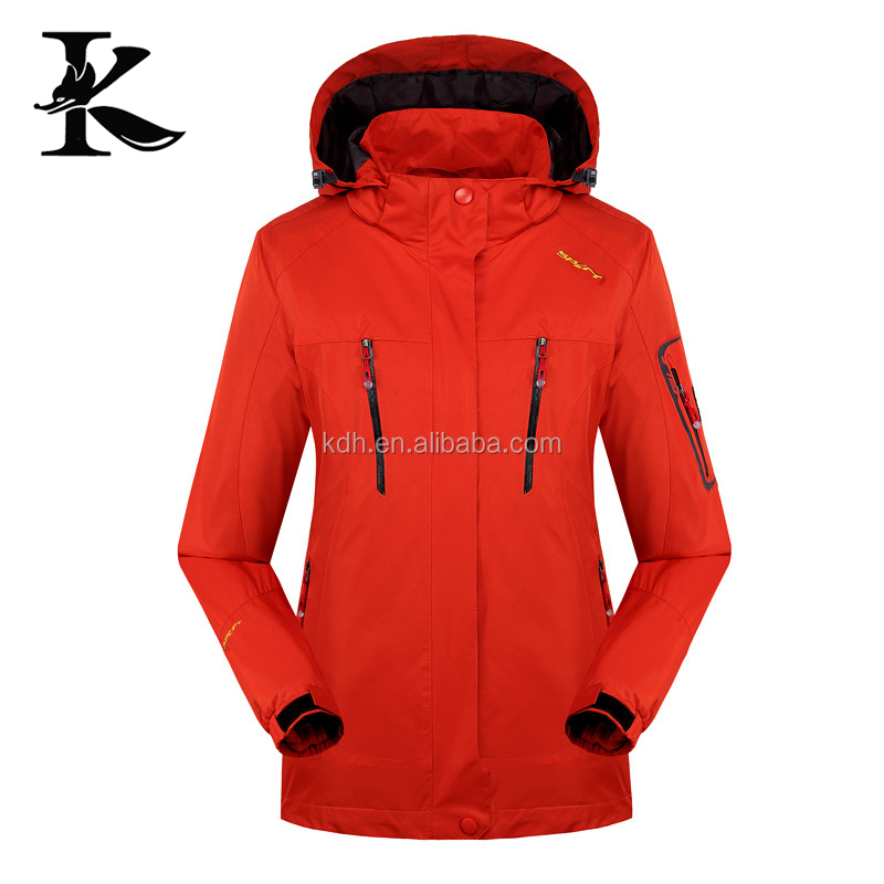 Women red wind resistand jacket 3 in 1 waterproof Jacket in new model