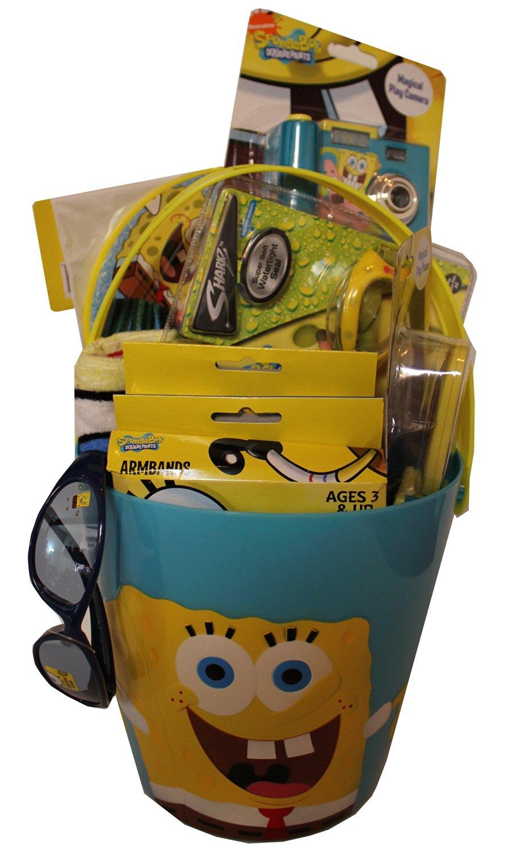Spongebob Squarepants Summer Fun & Swim Gift Basket includes Beach Towel, Swim Ring, Goggles, and More!!