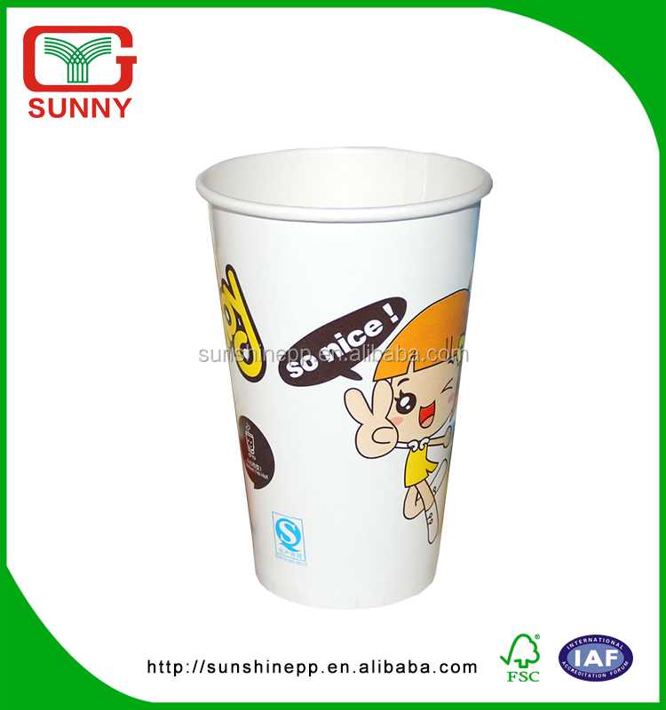 Cold Drink Custom Desigs Food Grade Disposable Wax Paper Cups