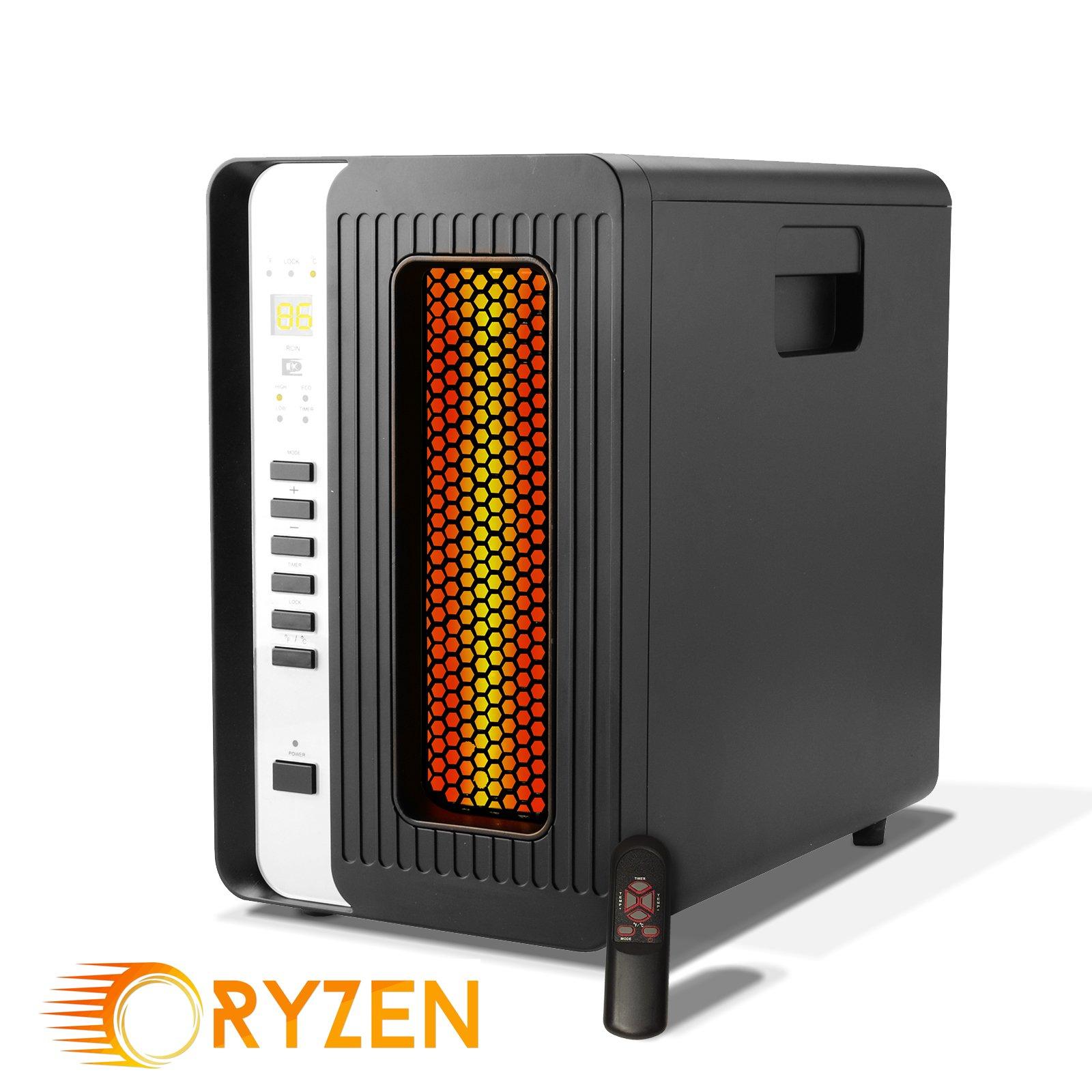 Ryzen H-5000 Pro Portable Infrared Quartz Heater w/ Remote 1500 Watts