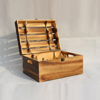 2015 Shabby Chic Home Decor Vintage Wood Case,whisky Bottle Wooden Boxes  With Free Sample
