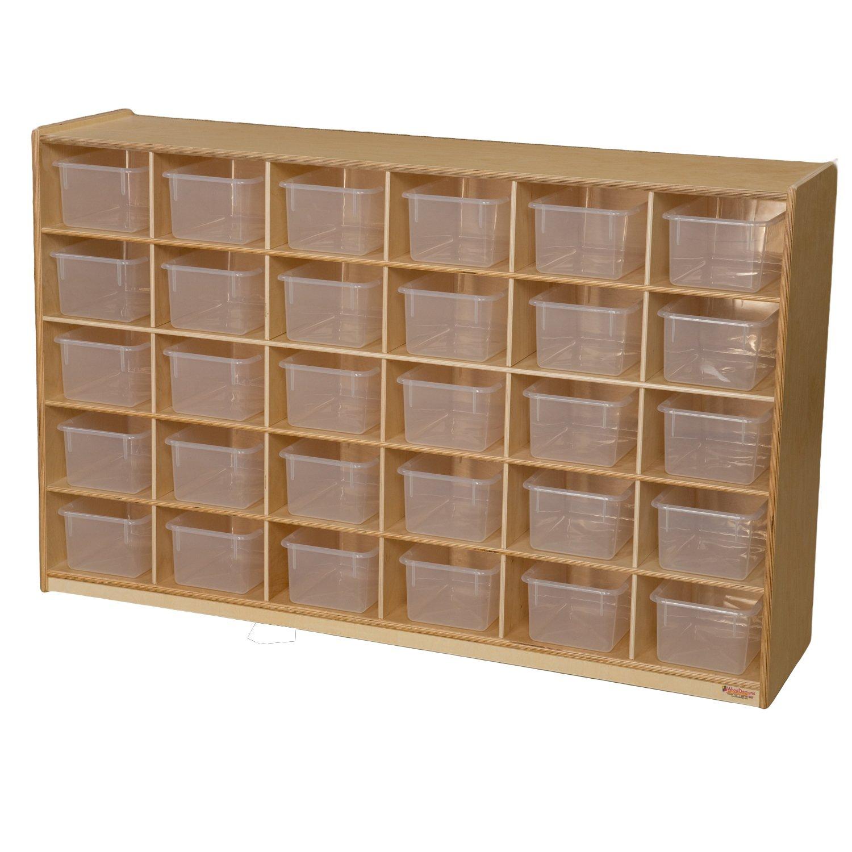 """Wood Designs WD16031 (30) Tray Storage with Translucent Trays, 36 x 58 x 15"""" (H x W x D)"""