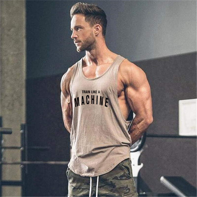 Wholesale fashion new arrival men tank top cool Printed Logo Bodybuilding Singlet Gym Wear