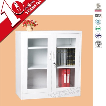 Two Glass Doors Half Height White Corner Storage Cabinet With