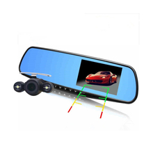 Hot 4.3 inch Full HD 1080P Car Mirror DVR Dual Lens Front And Back Camera For Car Rear View Mirror Car Camera DVR Video Recorder