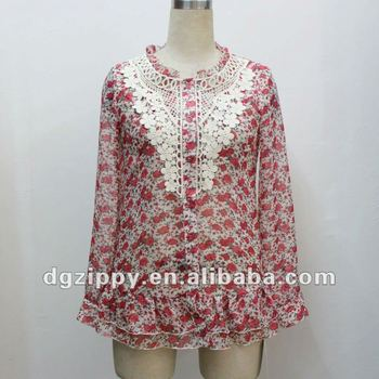 Neck Design Tops New Long Sleeve Chiffon Tops For Ladies
