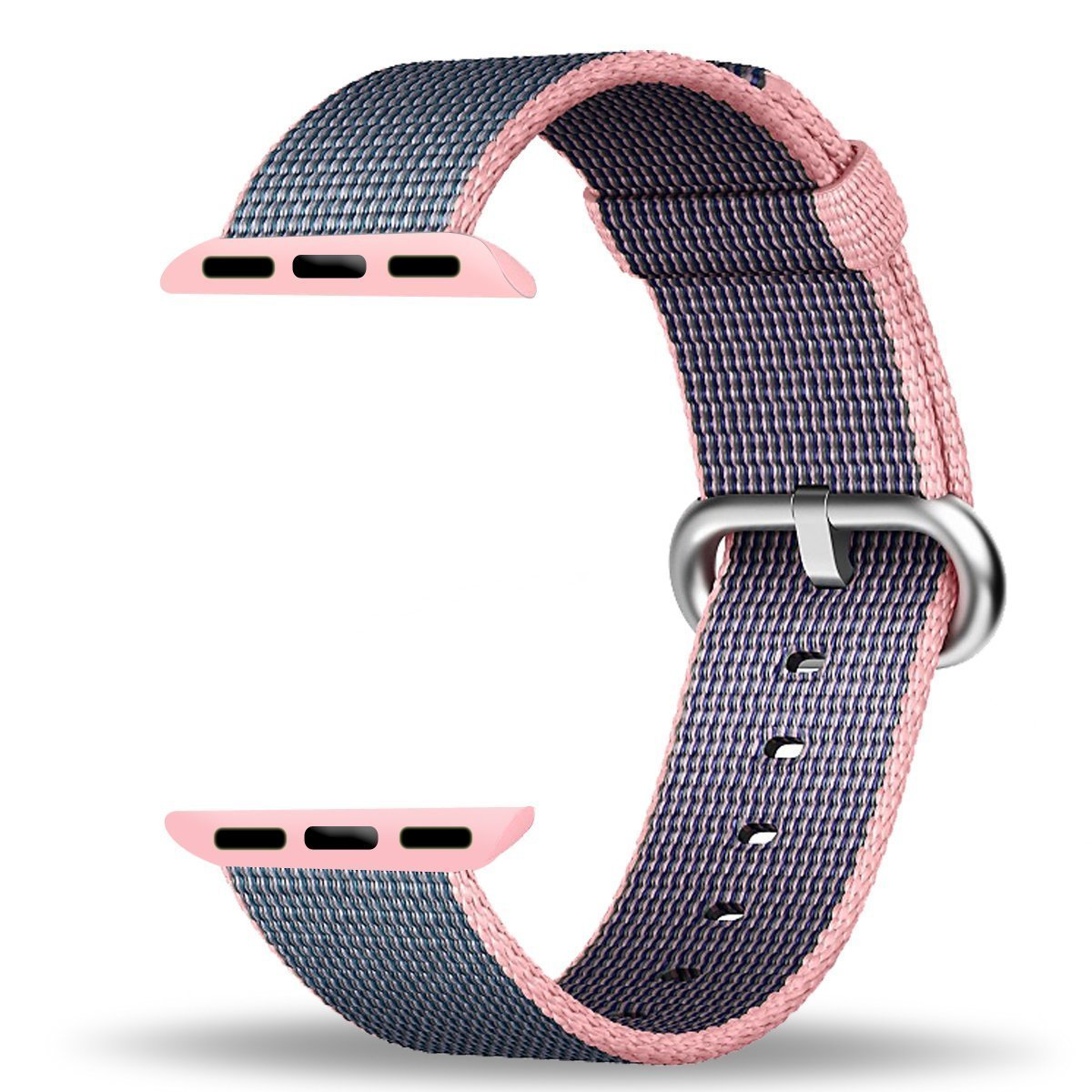 Apple Watch Band Series 1 Series 2, TitanFan Newest Fine Woven Nylon Strap Replacement Wrist Band for 2016 Apple Watch iWatch (Light pink/midnight blue 38mm)