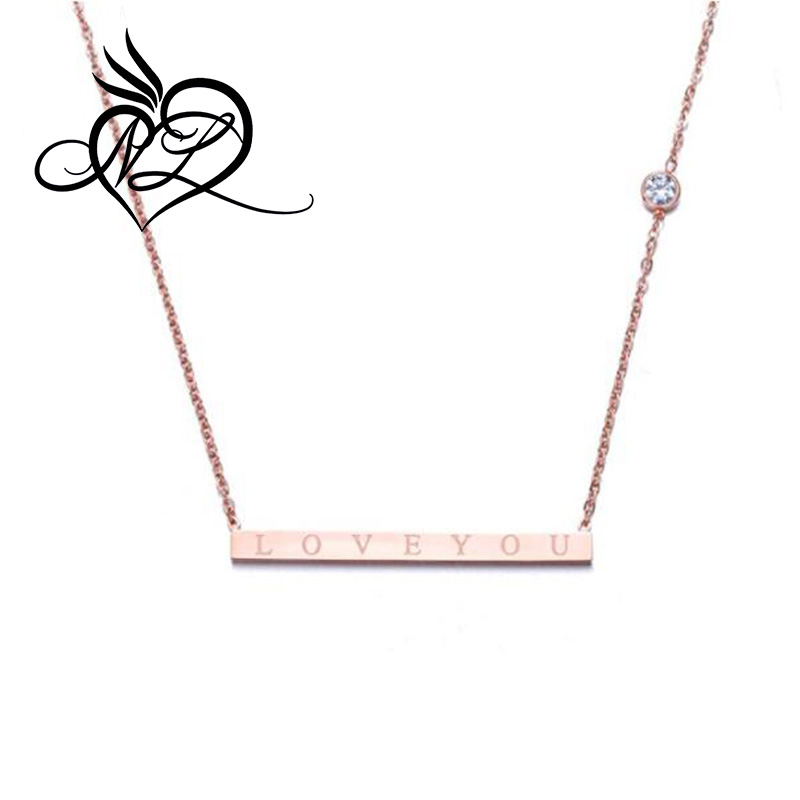 """LOVE"" Minimalist Engraved Bar Necklaces Simply Horizontal 316L Stainless Steel Plated Chain Necklace Gift for Girl"