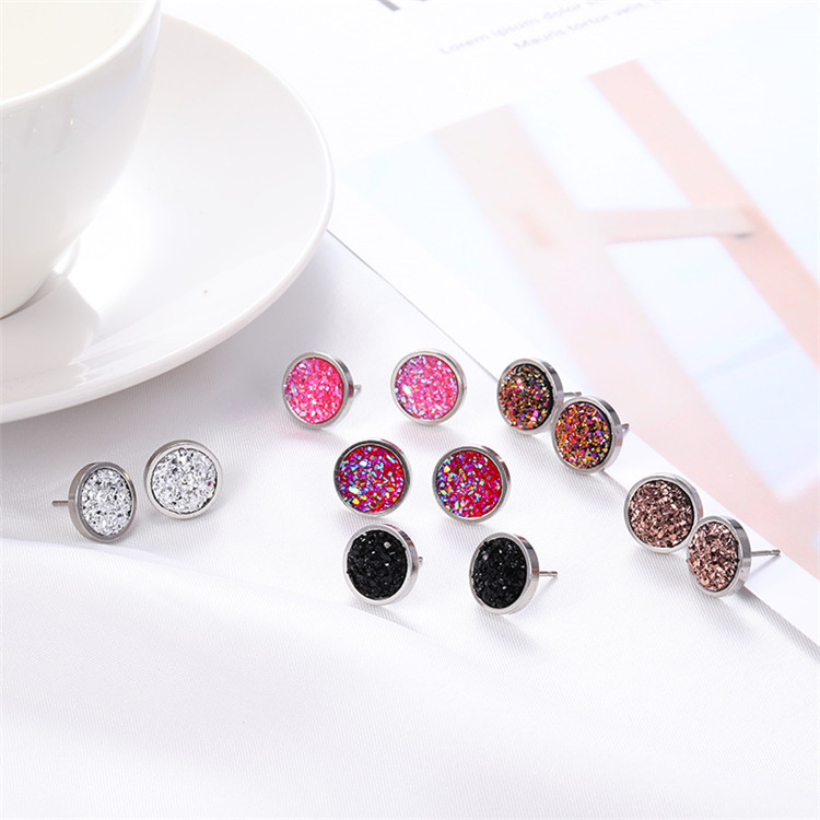 New Arrival 2019 Round Gypsophila Crystal Druzy Hypoallergenic Engagement Stainless Steel Glitter Stud Earrings For Women