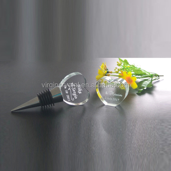 Personalized 3d Laser Clear Crystal Wine Bottle Stopper For Wedding