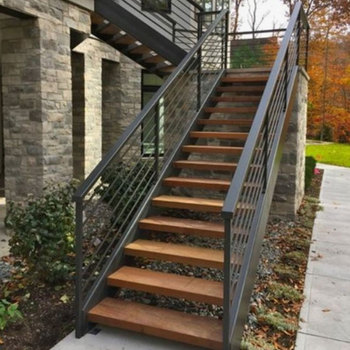Beautiful Exterior Stair Design Outdoor Metal Staircase Wood Tread Acacia Treads Composite Stairs Grill