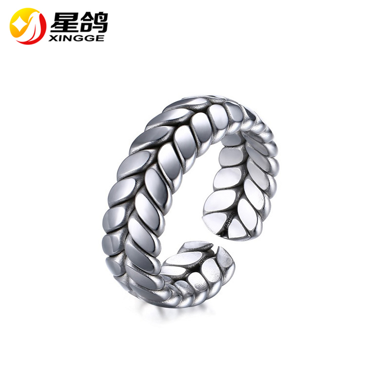 Wholesale Women & Men Ring 316L Stainless Steel Leaf Rings Jewelry Fashion Accessory Rings Valentine's Gift Male Anel