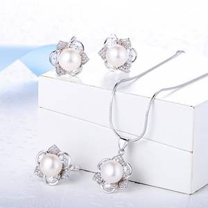 Wholesale Custom Women Wedding Bridal 925 Sterling Silver Pearl Jewelry Set