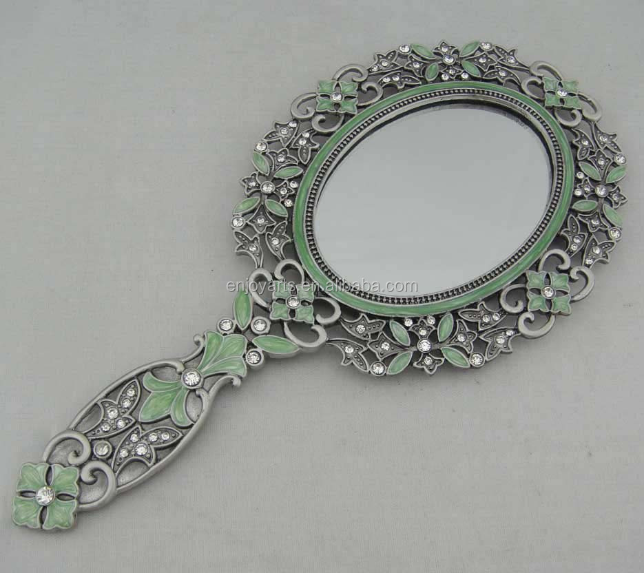 Antique Hand Mirrors Intended Antique Hand Painted Enamel Oval Mirrorp04001a Antique Hand Painted Enamel Oval Mirrorp04001a Buy