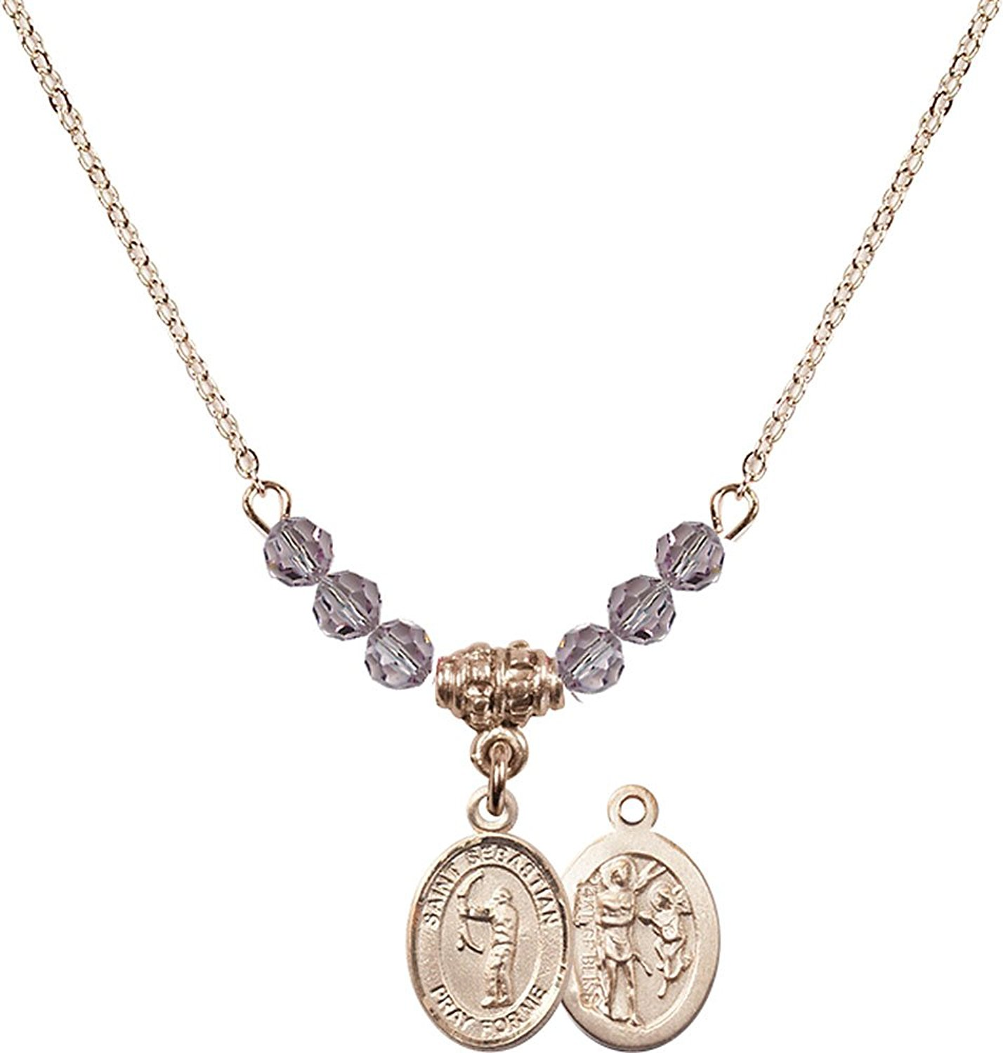 18-Inch Rhodium Plated Necklace with 6mm Light Rose Birthstone Beads and Sterling Silver Saint Christopher//Archery Charm.