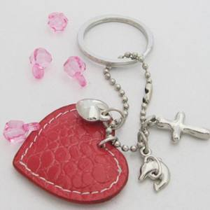 Customs logo Heart Shape Leather Keychain