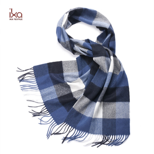 Factory Directly Supply Long Tassel Blue and White Check Tartan Plaid Cashmere Scarf Men