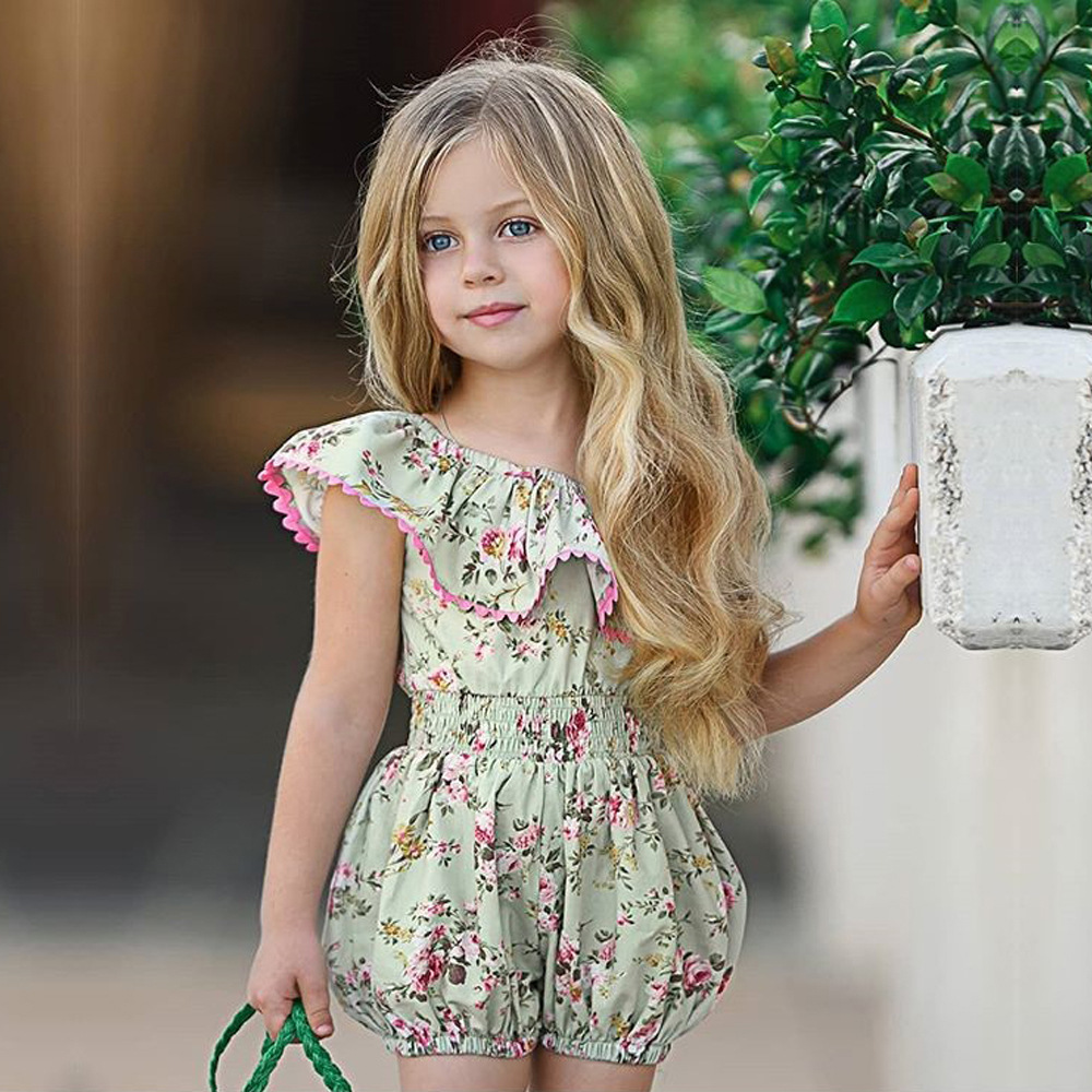 Girls summer clothing foreign trade summer kids lotus leaf collar floral climb romper baby girl one shoulder bodysuit, As picture