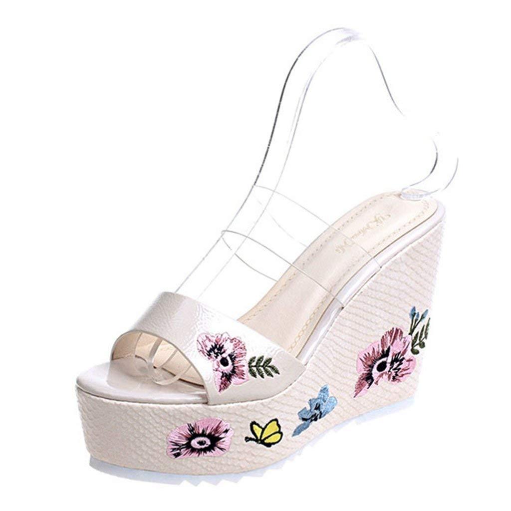 3b192d11258 Get Quotations · GIY Women s Open Toe Embroidery Wedge Sandals Slip-on Mid  Heel Platform Sandal Slippers Flip