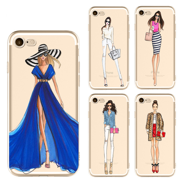 Long Leg SLim Fashion Girl Phone Cover Catwalk Show Patterns Phone Case for iPhone8 7 7 Plus 6 6plus