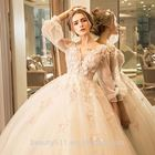 NEW STYLE ELEGANT A-LINE SWEETHEART SPARKLING LACE APPLIQUES ON CHIFFON Wedding Dress TS35