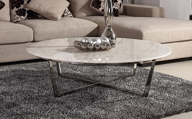 Round Jazz White Marble Top Stainless Steel Coffee Table Living Room Furniture Modern