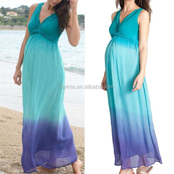 ab544844be386 hot sale aqua ombre dip dye maternity dress,latest maternity maxi dress  designs deep v