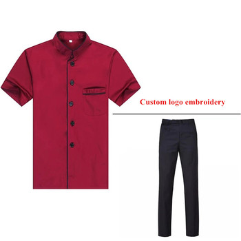 OEM Services cook clothes chef shirt&pants for summer with custom logo embroidery made in China