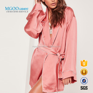 Wholesale Pajamas Women Custom Silk Robe Plain Pink Kimono