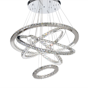 MEEROSEE Modern LED Chandelier Light Fixture Crystal Rings Hanging Lamp 5 Circle LED Stair Lustres Lighting Fitting MD8825-87653