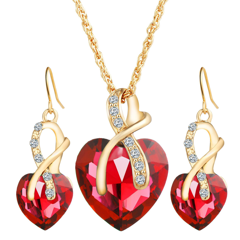 ZWJ001 Trade assurance titanium steel heart-shaped jewelry set double love fashion stainless steel jewelry suit female models