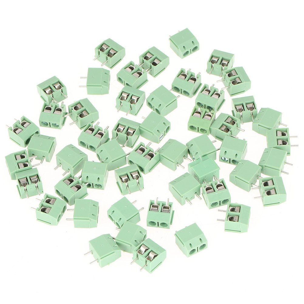Screw Terminal Block Connector, 2 Pin 5mm Pitch Universal PCB Mount, 50pcs/set, Green