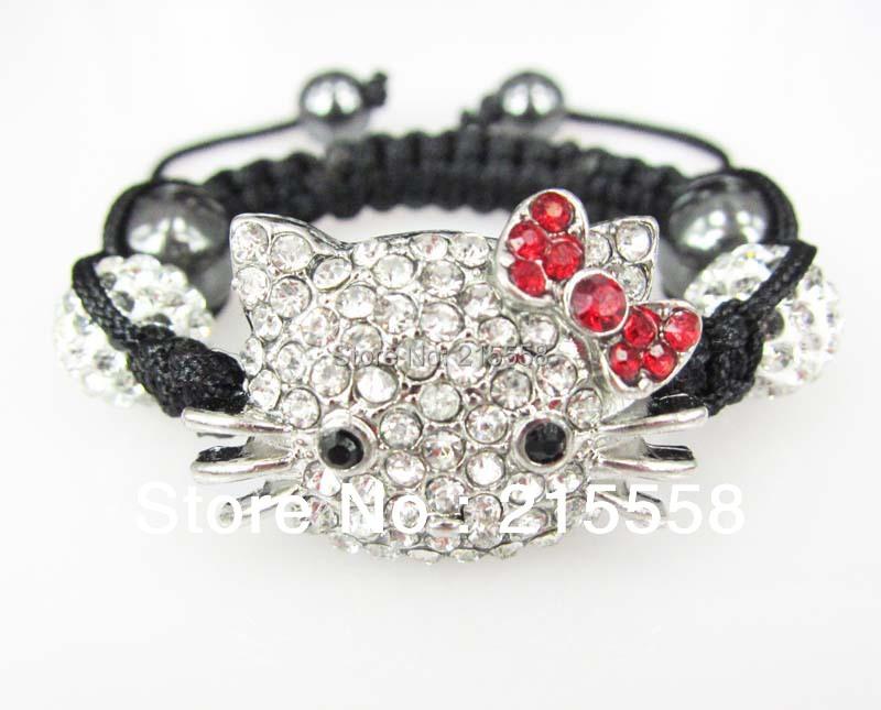 e9d9bd645 Get Quotations · Children Hello Kitty Shamballa Bracelet Kids Child  Girl/boys Crystal Disco Small Cat shamballa bracelets