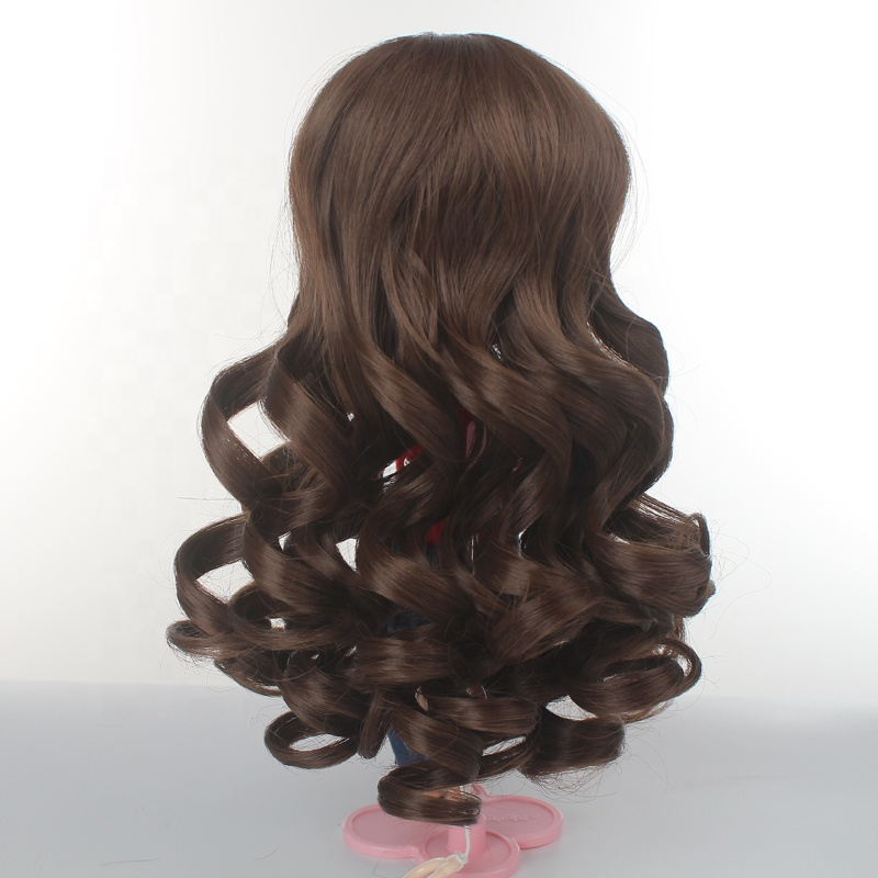 China Factory Price wholesale blythe doll use dark brown long curl wigs for girls