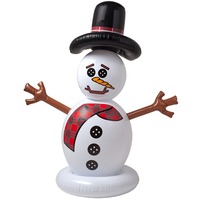 lovely inflatable Snowman head with hat,adorable blow up Snowman toy