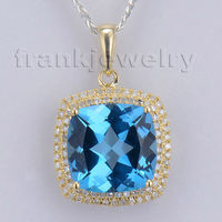 Cushion Cut 12x12mm Solid 14Kt Yellow Gold Natural Diamond Blue Topaz Pendant Made By Guangzhou Fine Gold Jewelry 2T018
