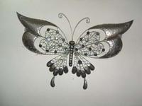 wrought iron handicrafts glass Wall Decor Outdoor beautiful metal butterfly garden decorations
