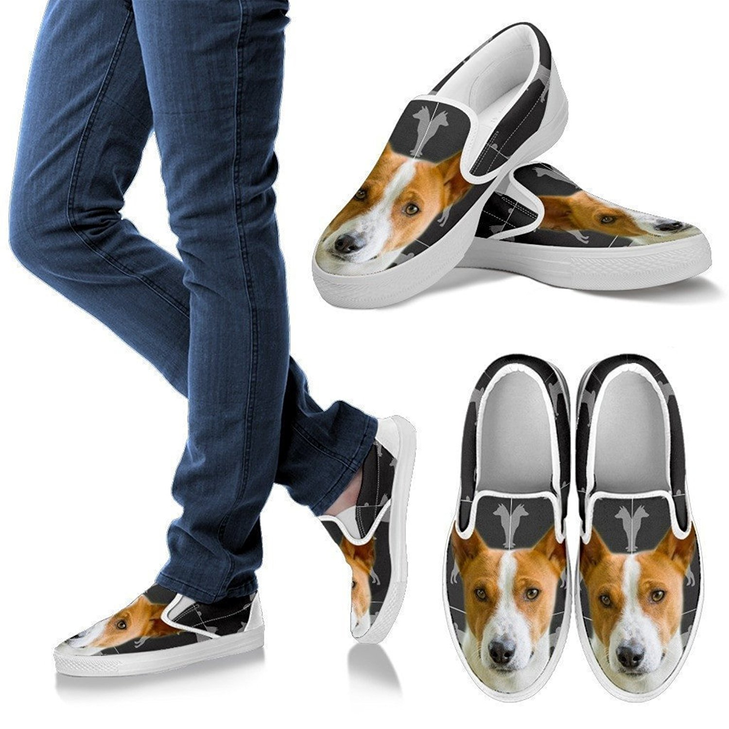 Basenji 3D Print Slip-Ons Shoes, Light Weight Slip On For Women, Front Toe Canvas Shoes, Womens Slip-Ons - US Sizes 6 – 12.