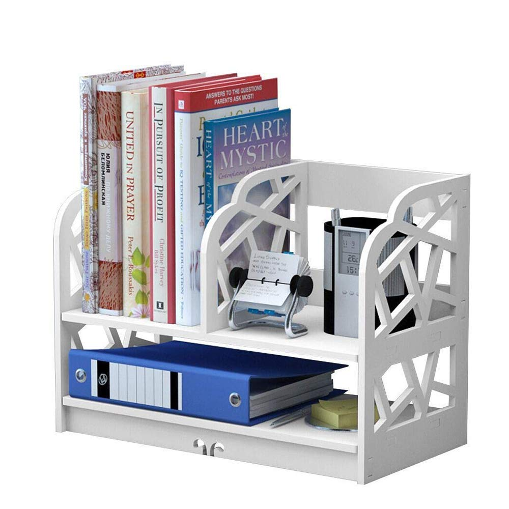 Get Quotations  C2 B7 Oblack White Bookshelf 2 Shelf Openwork Desk Organizer Diy Wooden Plastic Desktop