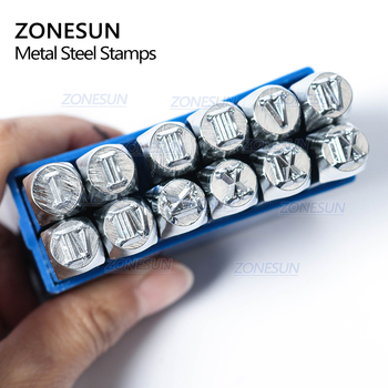 ZONESUN 12PCS Jewelry Metal Stamps Roman Nuberals Symbol Leather Punch Die Case Handicraft Stamping Tools Steel Metal Tool