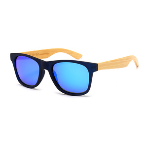 ba3f797644 Blue color plastic frame bamboo arms spring hinge polarized lens sunglasses  for men