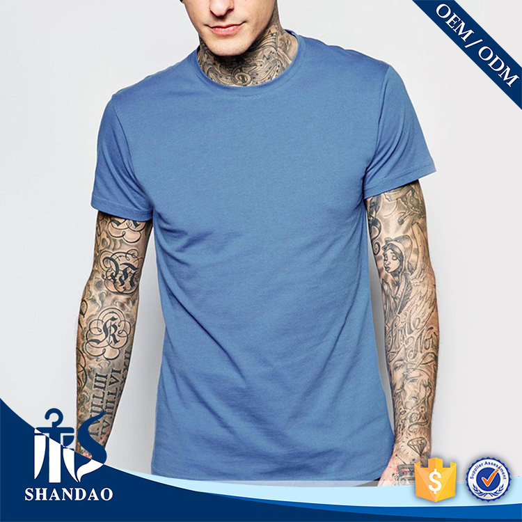 China Shandao OEM custom design graphic logo picture plain dyed man blank o-neck short sleeve cotton polyester 120g tshirt