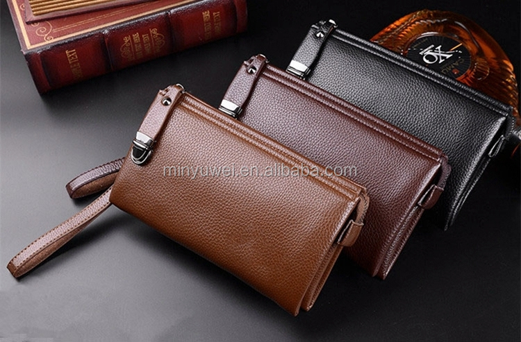Top grain leather men travel wallet large capacity