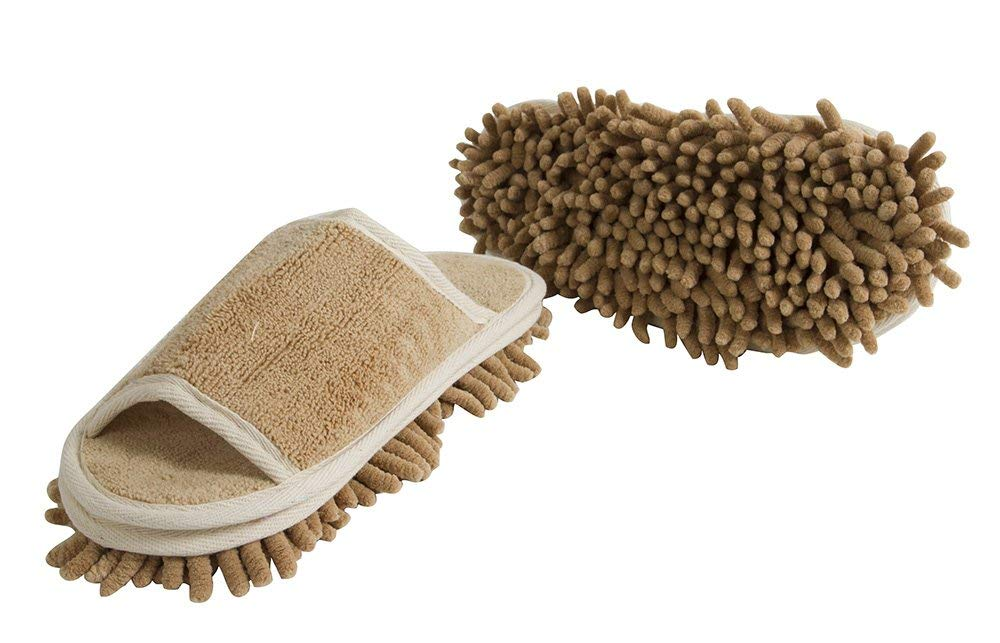 "Slipper Genie Microfiber Women's Slippers for Floor Cleaning, Women's House Slippers, Multi-Surface Cleaner, Dust Cleaning Tool, Taupe- Women's Size: 6-9 - ""Slip Em On And They'll Do The Cleaning For You!"""