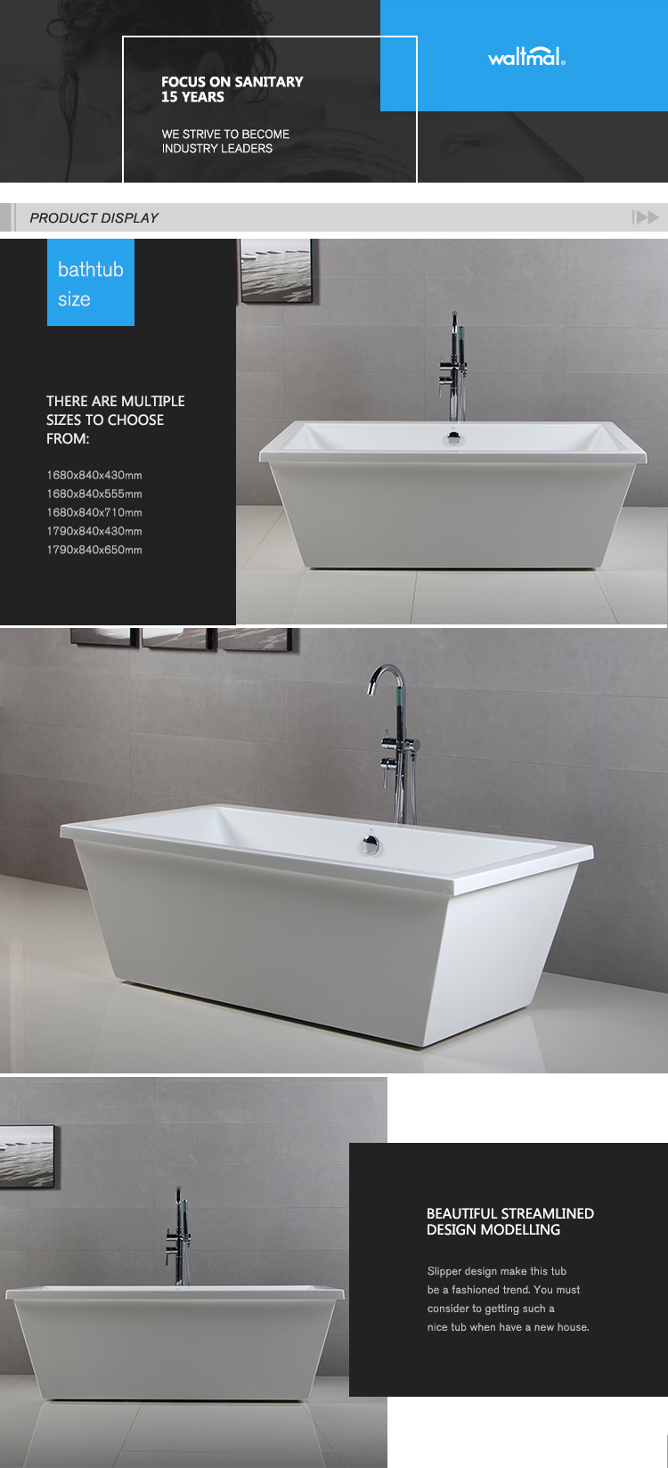 Standalone Two Sided Rectangle Acrylic Bathtub - Buy Double Sided ...