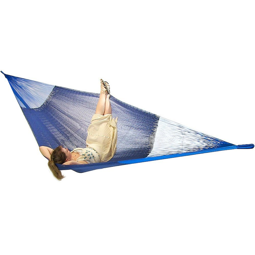 Sunnydaze Portable Hand-Woven 2-3 Person Mayan Hammock, Family Size, Blue-660 Pound Capacity