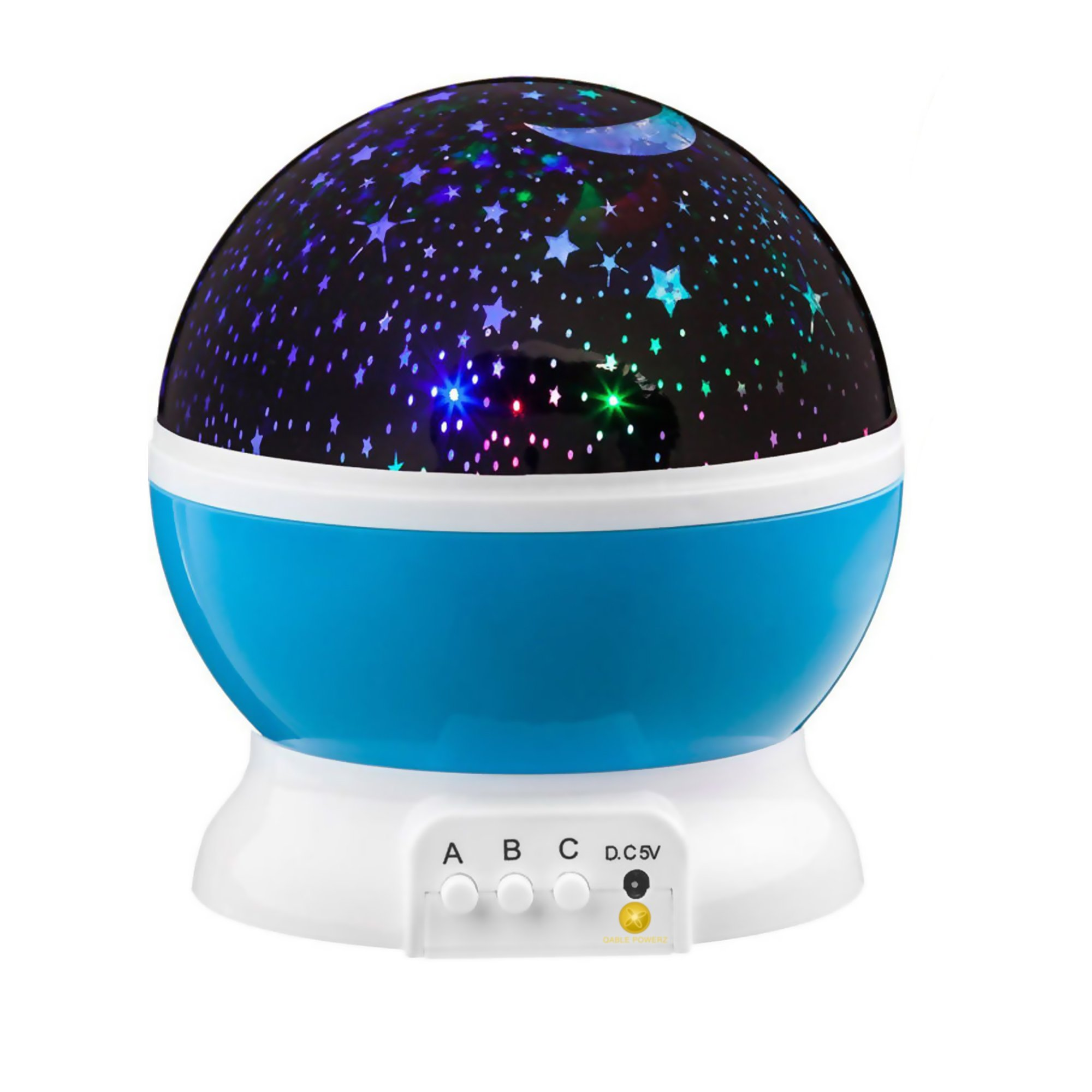 LED Projector Night Lights, Captivating Galaxy Night Sky Rotating LED Projector Ball Lamp Multi-Color Nursery Room Night Lightning Lamp (Blue)