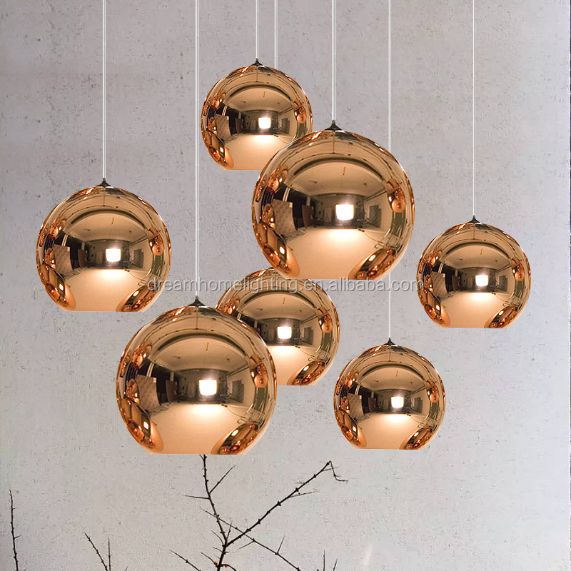 Glass gold, chrome and copper ball chandelier pendant lights