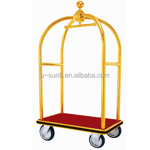 hotel brass bellman luggage carts /bell boy cart luxury/concierge birdcage luggage cart