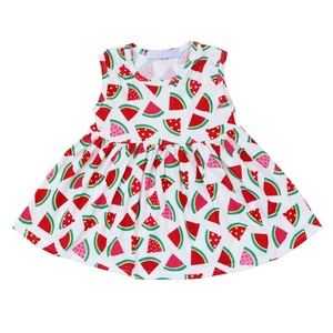 New arrival baby clothes children girl puffy sleeve dress flower cotton shirt dress for baby summer girls party dresses